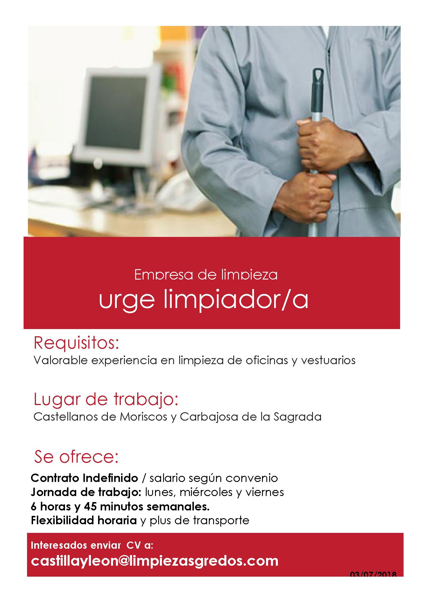 8082f3388ca02 Servicio orientación desempleados  OFERTA DE EMPLEO LIMPIEZA ...